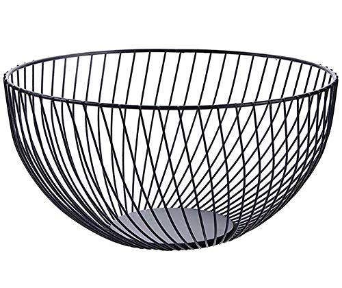 Metal Wire Countertop Fruit Storage Bowl Basket for Kitchen | Large Black Mesh Fruit Stand Serving Lemon, Potato, Onion - 10.2 In (Round B)