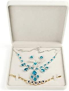 TIKIYOGI Jewelry Set Velvet Box Necklace Earring Ring Necklace Bracelet Gift Display Case Wedding Jewelry Storage Holder (Beige)