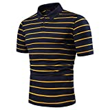 Lfly Polo Uomo Poloshirt Uomo Manica Corta Slim Fit T-Shirt Maglietta Uomo Banda Camicia Tennis Regular Fit Leggero, TraspiranteL