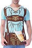 COSAVOROCK Disfraz de Bávaro Alemán Oktoberfest para Hombre Camiseta de Lederhose (M, Azul)