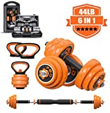 CHAIJY Multifunctional Adjustable Dumbbells Set,Exercise Barbell Weight Sets with Kettlebell Handle, 44LB Home