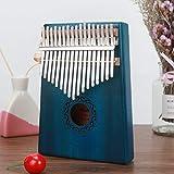 HMLSM Kalimba 17 Zoll Klaviertastatur aus Mahagoni Finger Holz Mbira likembe Schlaginstrumente Afrika Solid Kalimbas für Kinder (Farbe: blau)