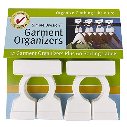 Simple Division Garment Organizers - Sort, Put Away, and Find Clothes Easily - 12 White Closet Organizers - Includes 60 Bilingual Sorting Labels