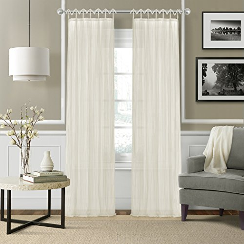 Elrene Home Fashions 026865638837Juvenile Tween pestaña Parte Superior Sheer Solo Panel Ventana Cortina Drape, Ivory, 1, 1