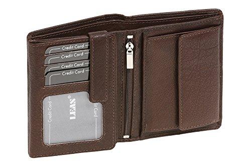 LEAS Geldbörse Herren extra kompakt mit RFID Schutz, Herren Geldbeutel in Echt-Leder, Portmonee im Hochformat mit Geschenk Box, braun