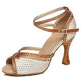 HROYL Zapatos de Baile Latino Mujer Bachata Tacon Alto Zapatos de Baile de Salon Salsa y Bachata,L451,Beige-7.5,EU37