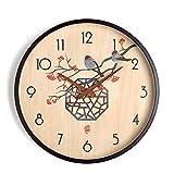 Wall clocks Reloj de madera maciza duradera con aguja de madera maciza simple y simple (tamaño: 14 pulgadas)