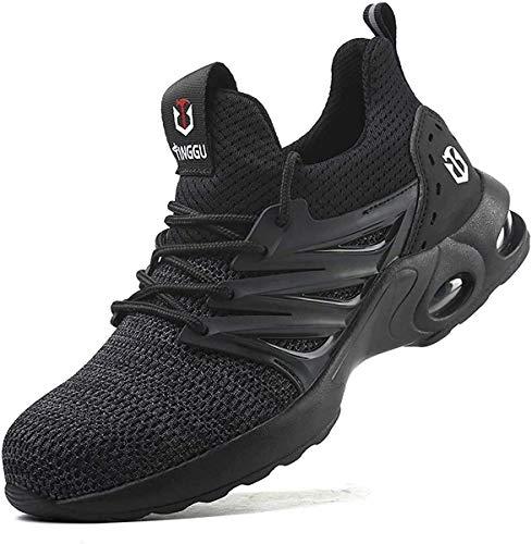 Kefuwu Zapatos de seguridad para hombre y mujer, deportivos, con puntera de acero, ligeros, transpirables, color Negro, talla 38 EU