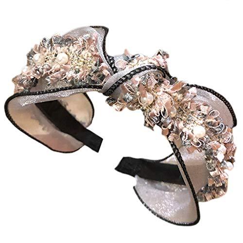 Gwxevce Femmes Maille Dentelle Perle Bijoux Large Cerceau De Cheveux Glitter Volants Twist Noeud Bandana Rose Clair
