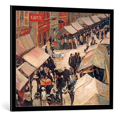 kunst für alle Bild mit Bilder-Rahmen: Albert Weisgerber Jahrmarkt in St Ingbert - dekorativer Kunstdruck, hochwertig gerahmt, 85x70 cm, Schwarz/Kante grau