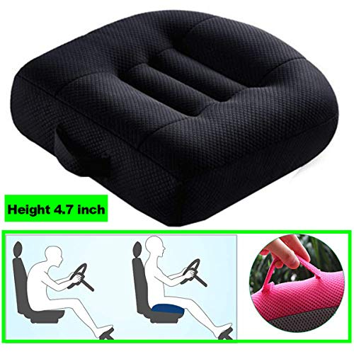 WSGJHB Car Booster Seat Cushion Heightening Height Boost Mat, Breathable Mesh Portable Car Seat Pad Angle Lift Seat Cushions Ideal for Car Office,Home, Used All The Year,Black,40x40x12cm
