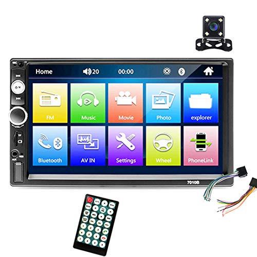 Autoradio Bluetooth Stereo, 2 Din 7' Touch Screen HD Multimediale D'intrattenimento Lettore MP5, Supporta Mirrorlink / FM / USB / TF / Aux in / Telecomando + 4led Telecamera Posteriore 7010B