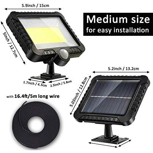 Luce Solare Esterno, 2400mAh LED Lampada Solare con Sensore di Movimento Luci Solari Esterno Lampade Solari Impermeabile per Giardino, Uso di recinti, porte, cortili o ingressi