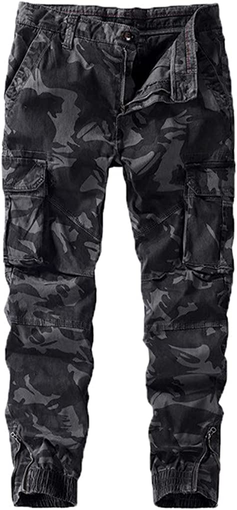 Mens Army Green Camouflage Tactical Pants Cotton Trousers Casual