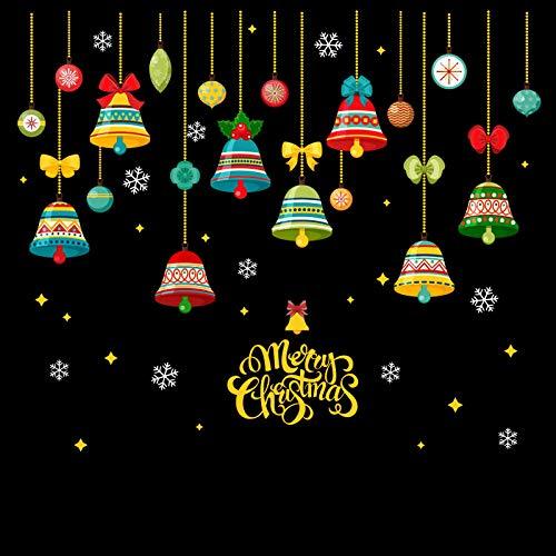 Vinilos Decorativos Y Murales Adhesivo de cristal para ventana con diseño de escena de decoración navideña Pegatinas regalo Campana de Papá Noel