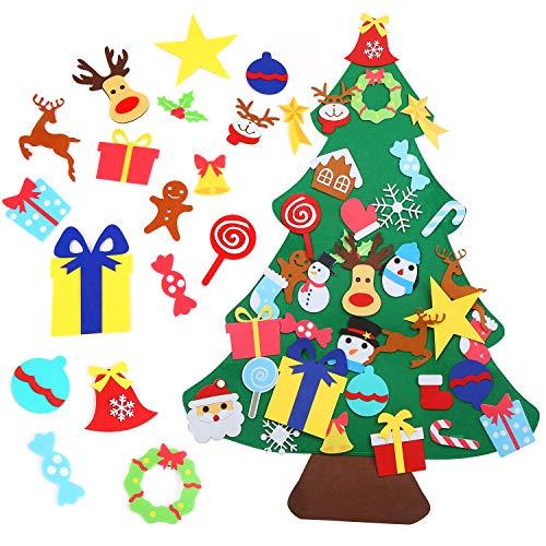LOKIPA Felt Christmas Tree,Kids Felt Xmas Tree With 36pcs Ornaments For DIY Christmas Tree Fun