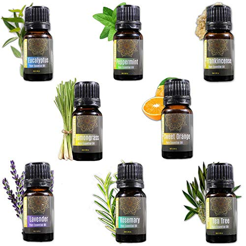 Aromatherapy Essential Oil Top 8 Set - 100% Pure Therapeutic Grade