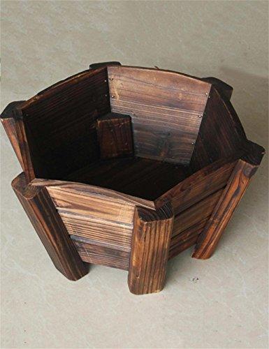 XYZ Retro solida rotonda di legno vasi da fiori, all'aperto Dispositivo di impianto al coperto, verdure epoca Holder Fiore delicato durevole