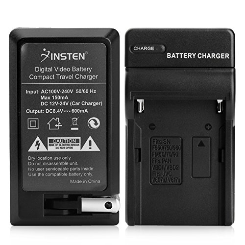 Insten Replacement Battery Charger Set (AC Wall/DC Car) Compatible with Sony NP-F970 NP F970 F750 F770 F960 F550 F530 F330 F570 CCD-SC55 TR516 TR716 TR818 TR910 TR917 MVC-CD1000 HDR-FX1 DCR-VX2100