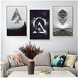 HSFFBHFBH Leinwand Malerei Abstrakte Landschaft Wald Meer Gebäude Geometrie Nordische Plakate & Drucke Wandkunst Bilder Dekor 60x80cm (23,6