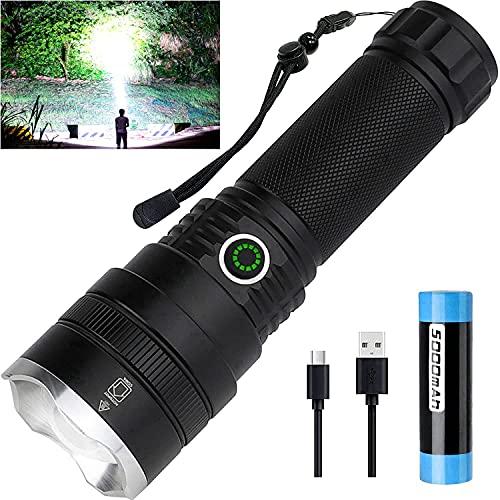 Led Tactical Flashlights 10000 High Lumens, Rechargeable Flashlights with Battery, 4 Light Modes, Zoomable, IPX5 Waterproof, Bright Flashlights for Emergencies Camping Outdoors