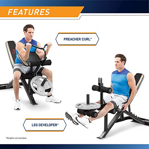 Product Image 3: Marcy Adjustable Olympic Weight Bench with Leg Developer and Squat Rack MD-879