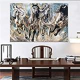 Lienzo al galope animal pintura al óleo moderna cartel retro impresión de la lona decoración del hogar arte pintura sin marco Y010466 20x30 cm