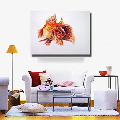Ölgemälde Auf Leinwand Handgemalt,Zusammenfassung Tier Gemälde,Goldener Fisch,Modernen Europäischen Stil An Der Wand Dekoration Für Eingang Wohnzimmer Schlafzimmer Kinder Erwachsene Geschenk,60 X