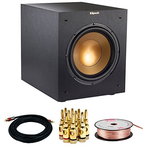 """Klipsch R-10SWi Powerful 10"""" 300w Wireless Subwoofer (1063513) w/ Accessories Bundle Includes, 15FT Coaxial A/V RCA CL2 Rated Cable 75ohm, 16 AWG Speaker Wire, 100ft & Brass Speaker Banana Plugs"""