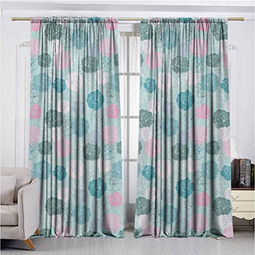 Navy and B Curtains That can Control The Amount of Light Entering The Room Retro Style Rose Motifs Silhouettes Romantic Fantasy Seasonal Garden Curtains Prevent high temperatures in Summer and Cold i