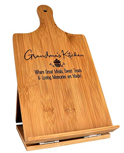 Grandma Recipe Cookbook Holder Stand Gift - Engraved Bamboo Cutting Board Foldable Chef Easel Metal Hinges Kickstand iPad Tablet Compatible Christmas Birthday Mothers Day Kitchen Decor (7.25x13.5)