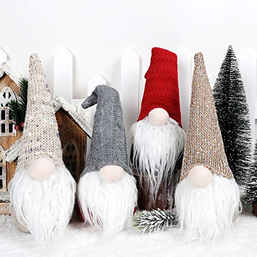 EDLDECCO Christmas Gnome Pack of 4 Plush Yule Santa Nisse Figurine Plush Swedish Nordic Tomte Scandinavian Elf X'Mas Holiday Party Home Decor Ornaments (Grey, 4)