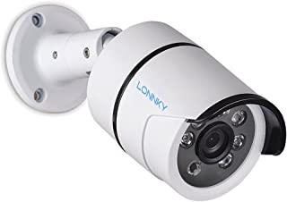 LONNKY Bullet Security CCTV Camera, 1080P HD TVI Analog Waterproof Outdoor/Indoor Surveillance Camera with IR Cut 3.6mm Lens Wide Angle, Motion Detection and Clear Night Vision Function, White