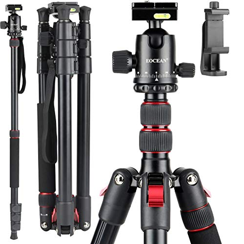 Eocean 71 Inches iPhone Tripod Lightweight Aluminum Camera Tripod for DSLR Photography Tripod with 360 Degree Ball Head 1/4 Quick Release Plate Professional Tripod Load up to 11 Pounds