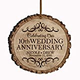 LifeSong Milestones Personalized 10th Anniversary Bark Style Christmas Ornament for 10 Year of Marriage - Ten Year Wedding Keepsake Gift for Parents Husband Wife him her 3.25 (Bark)