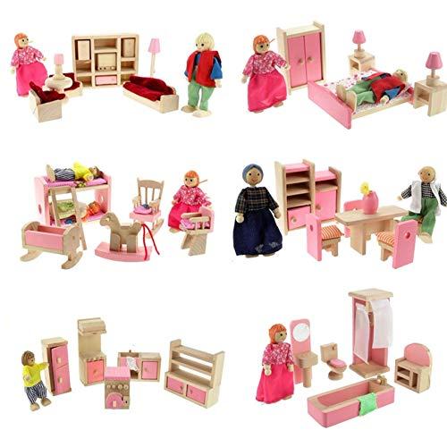 NUOBESTY 1 juegos de casa de muñecas en miniatura muebles casa de muñecas familia Peg Dolls Set Dormitorio Baño Sala Accesorios para Niños Fiesta de Cumpleaños Favor