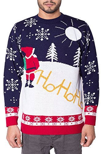 Noroze Maglione da uomo, motivo natalizio, lavorato a maglia, con cappellino in omaggio Ho Ho Santa Cream S