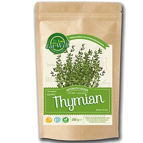 Thymian getrocknet und gerebelt (250g) | Thymianblätter ( Thyme Leaves) • Tymian Gewürz für eder Art von Fleisch, besonders Lamm, Wild, Rind, Geflügel | Eat Well Premium Foods