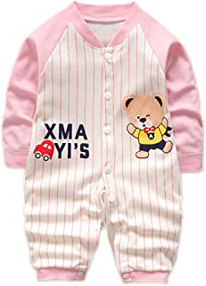 Vinesen Toddler Infant Unisex-Baby Boys Girls Bodysuit Jumpsuits with Button Closure Long Sleeve Combed Cotton Rompers
