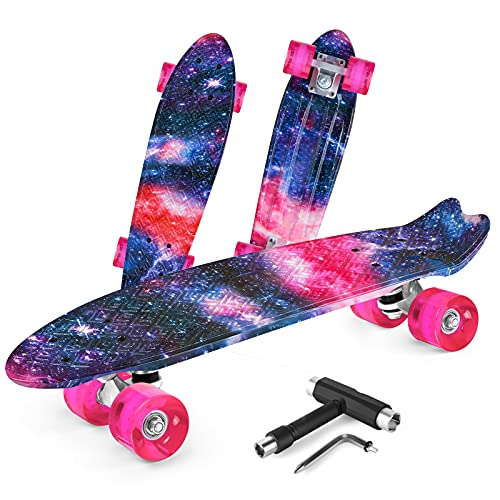 Beleev Skateboards for Kids Teens Adults, 22 inch Cruiser Complete Skateboard for Beginners Girls Boys, Classic Mini Skateboard with Custom Non-Slip Fishtail Deck, Galaxy Purple