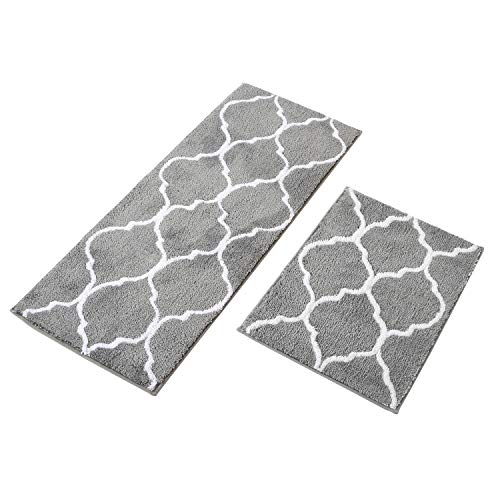 "MustMat Kitchen Floor Rug Set Non Slip Rubber Backing Bathroom Area Rug Perfect in Front of Sink (Gray,17""x25""+17""x47"")"