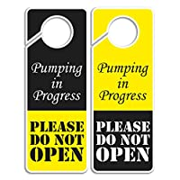 CLEVER SIGNS Do Not Disturb サイン - Pumping in Progress Do Not Open、ドアハンガー2パック、両面、あらゆる場所での使用に最適