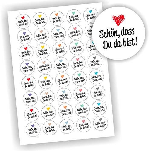 Play-Too 40 Aufkleber Weiß rund Schön, DASS Du da bist Etikett Geschenk Geschenkaufkleber DIY
