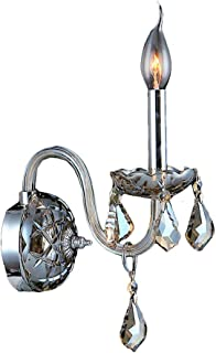 """Worldwide Lighting Provence Collection 1 Light Chrome Finish and Golden Teak Crystal Candle Wall Sconce 4"""" W x 15"""" H Small"""