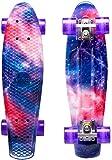 ENKEEO Skateboard Planche à roulettes Retro Cruiser 22 Pouces, 4 Roues Translucides PU, Table en Plastique Renforcé, Roulement ABEC-7, pour Fille Garçon et Adulte (Violet)