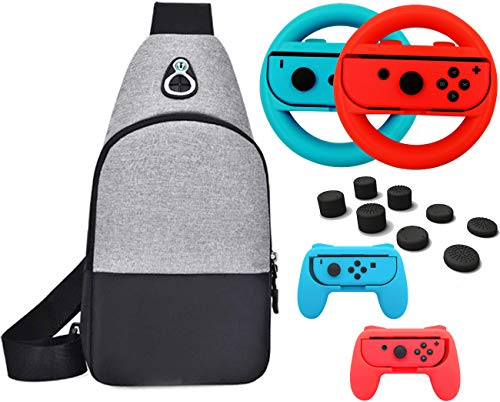 NiSotieb 13 in 1 Switch Controller Accessories Bundle for Switch- Travel Bag/Switch Steering Wheel 8 Delux/Hand Grips Handle/8x Thumb Grip