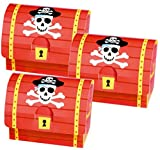 8 Schatztruhen aus Karton für kleine Piraten von AMSCAN // 399900 //Schatztruhe Schatzkiste Schatzbox Truhe Kiste Box Pirat Schatz Party Kindergeburtstag Geburtstag
