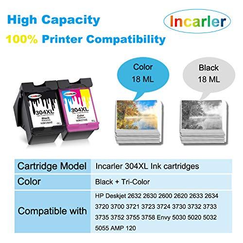 Incarler 304 XL Remanufacturado Cartuchos de Tinta Compatible con HP 304XL para HP Deskjet 2630 2633 3700 2632 2620 3720 3730 3732 2634 3735 Envy 5032 5020 5030 5055 (1 Negro 1 Tri-Color)