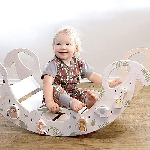 """Kinder Schaukelwippe """"Jumbo Puzzle"""" aus Holz – handgefertigt, ideal zum Balancieren, fördert Motorik und Körpergefühl, für Jungen und Mädchen ab 12 Monaten, weiß"""