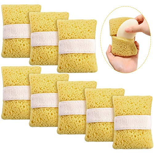 Sawysine 8 Pieces Bath Shower Sponge with Soap Pocket Soap Exfoliating Saver Bag Saver Pouch Cotton Sponge Shower Body Scrubber for Men and Women Bath Spa and Shower